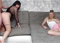 Man Fucks His Wife and Than Their Neighbor Teen on Couch