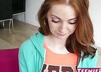 Young redhead babe Natalie Lust creampied by huge dick