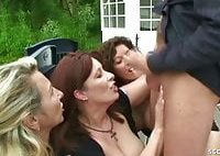 German MILFs Bi Jenny and Friends in Public Reverse Gangbang