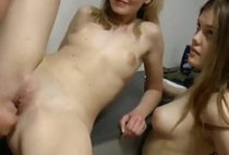 Mom with Daughter Sharing One Lucky Cock