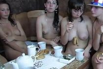 Naked breakfast by women