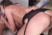 Brunette in stockings office suck fuck and DP